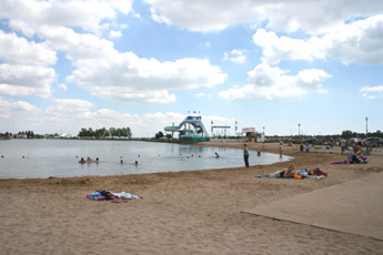 the beach, lake and water slide at l'Aiguillon sur Mer