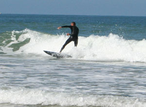surfing on the Atlantic Breakers.