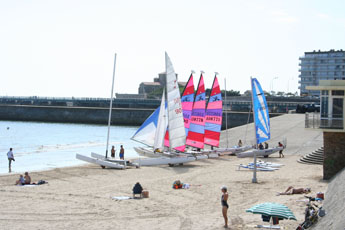 catamarans and dingies are popular on the north end of the beach