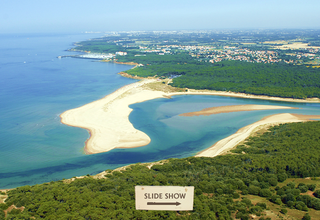 Arial view of Veillon beach and the Payre estuary.