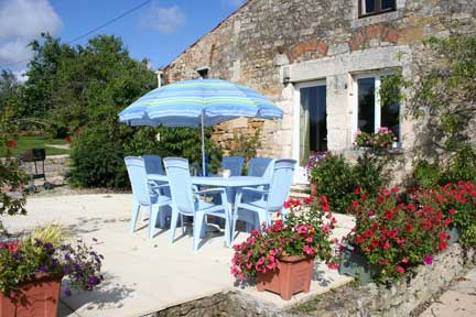 the Patio, Frene Cottage @ La Grange Gites Complex, Vendee.