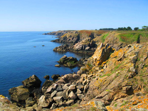 Rocky cliffs on the Ile d'Yeu, Vendee