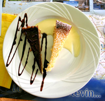La Desert of cocconut flan and chocolate fudge cake