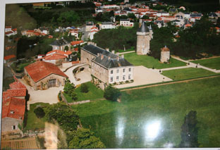 Arial view of the Chateau de l'Hermenault.