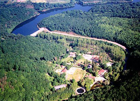 Arial view of the Pierre brune fun park in the Mervent Forest.Vendee