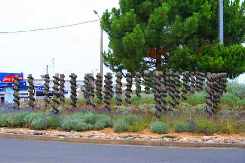 Bouchot posts on the roundabout at l'Aiguillon-sur-Mer,Vendee.