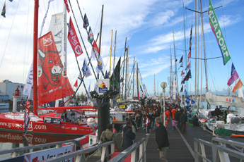 Brightly coloured yachts on view at the Vendee globe Village