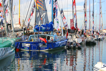 The race contenders on view at the Vendee Globe village